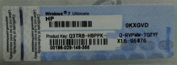 Coa label windows 7 product key codes / sticker for windows xp.